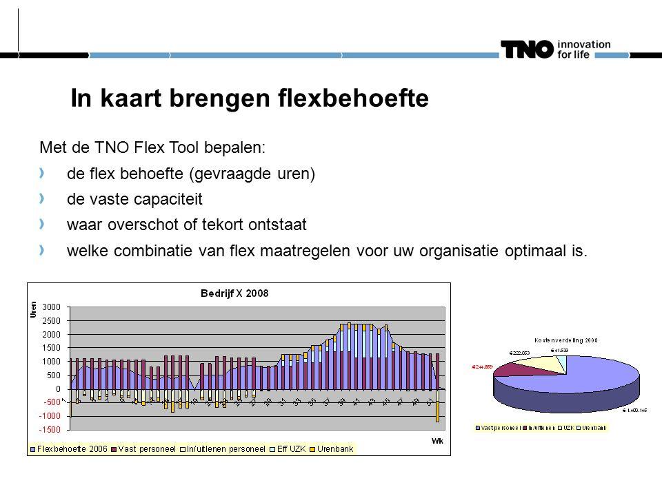 In kaart brengen flexbehoefte Met de TNO Flex Tool bepalen: de flex behoefte (gevraagde uren) de vaste capaciteit waar overschot of tekort ontstaat welke combinatie van flex maatregelen voor uw organisatie optimaal is.