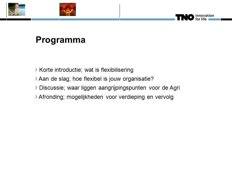 Programma Korte introductie; wat is flexibilisering Aan de slag; hoe flexibel is jouw organisatie.