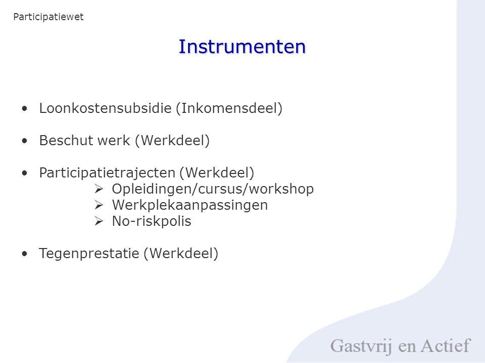 Instrumenten Loonkostensubsidie (Inkomensdeel) Beschut werk (Werkdeel) Participatietrajecten (Werkdeel)  Opleidingen/cursus/workshop  Werkplekaanpassingen  No-riskpolis Tegenprestatie (Werkdeel)