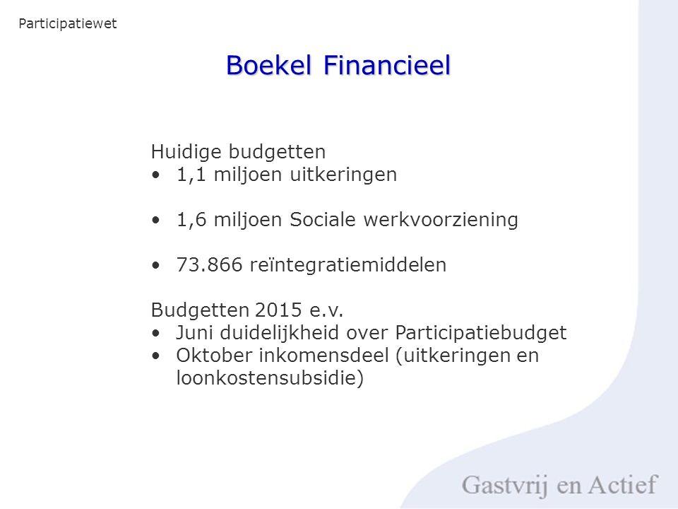 Boekel Financieel Participatiewet Huidige budgetten 1,1 miljoen uitkeringen 1,6 miljoen Sociale werkvoorziening 73.866 reïntegratiemiddelen Budgetten 2015 e.v.