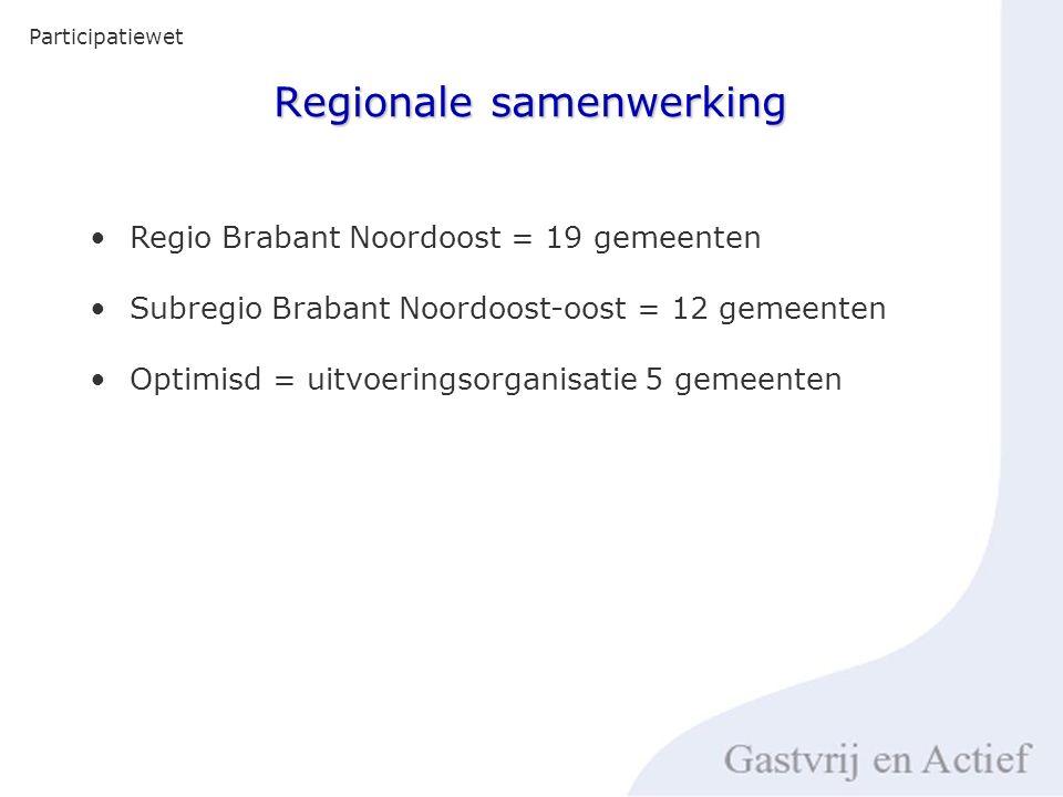 Regionale samenwerking Participatiewet Regio Brabant Noordoost = 19 gemeenten Subregio Brabant Noordoost-oost = 12 gemeenten Optimisd = uitvoeringsorganisatie 5 gemeenten