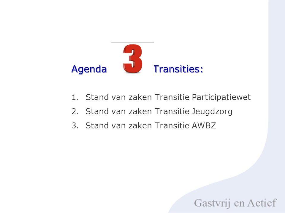 1.Stand van zaken Transitie Participatiewet 2.Stand van zaken Transitie Jeugdzorg 3.Stand van zaken Transitie AWBZ Agenda Transities: Agenda Transities: