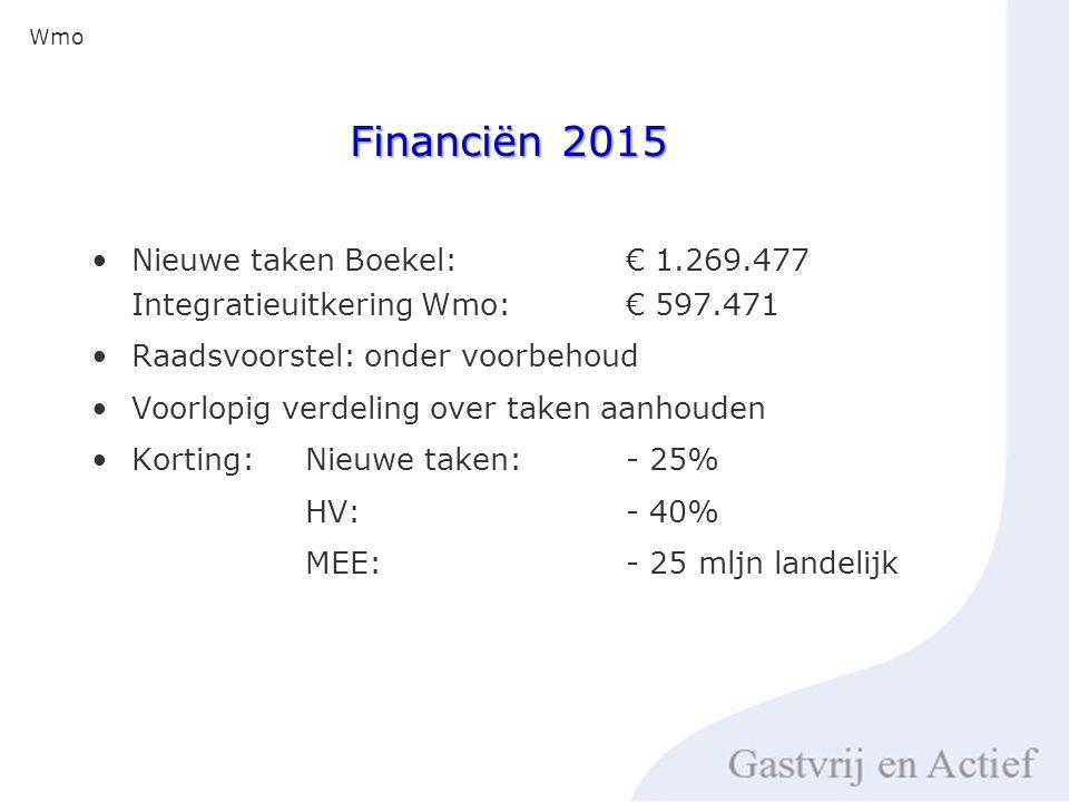 Financiën 2015 Nieuwe taken Boekel: € 1.269.477 Integratieuitkering Wmo: € 597.471 Raadsvoorstel: onder voorbehoud Voorlopig verdeling over taken aanhouden Korting: Nieuwe taken: - 25% HV: - 40% MEE:- 25 mljn landelijk Wmo