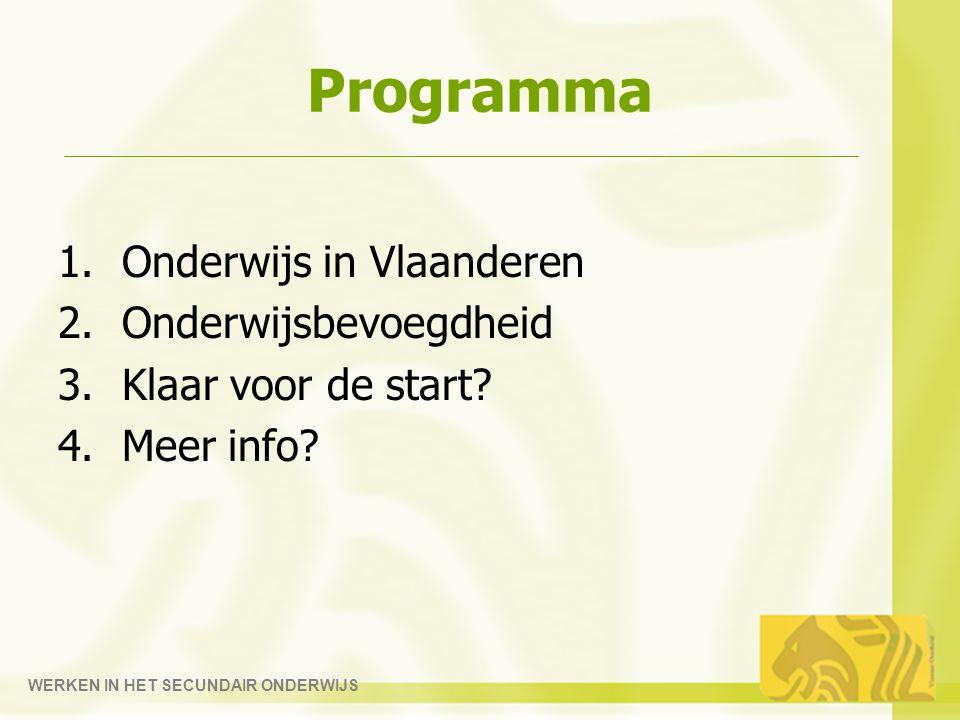 WERKEN IN HET SECUNDAIR ONDERWIJS Programma 1.Onderwijs in Vlaanderen 2.Onderwijsbevoegdheid 3.Klaar voor de start.
