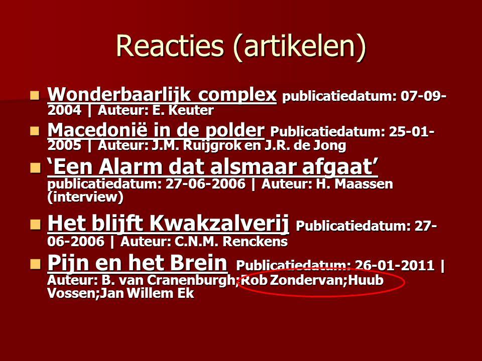 Reacties (artikelen) Wonderbaarlijk complex publicatiedatum: 07-09- 2004 | Auteur: E.