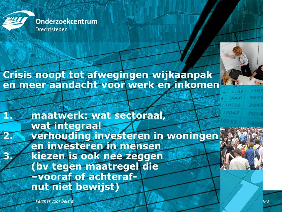 Crisis noopt tot afwegingen wijkaanpak en meer aandacht voor werk en inkomen 1.maatwerk: wat sectoraal, wat integraal 2.verhouding investeren in woningen en investeren in mensen 3.