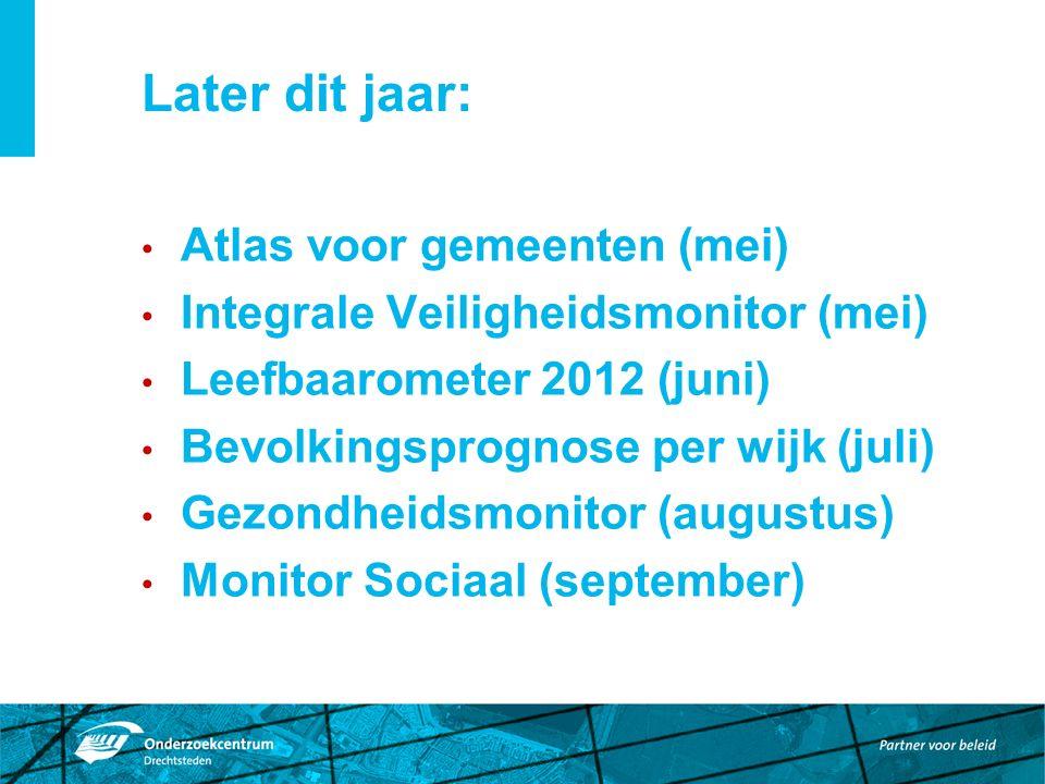 Later dit jaar: Atlas voor gemeenten (mei) Integrale Veiligheidsmonitor (mei) Leefbaarometer 2012 (juni) Bevolkingsprognose per wijk (juli) Gezondheidsmonitor (augustus) Monitor Sociaal (september)
