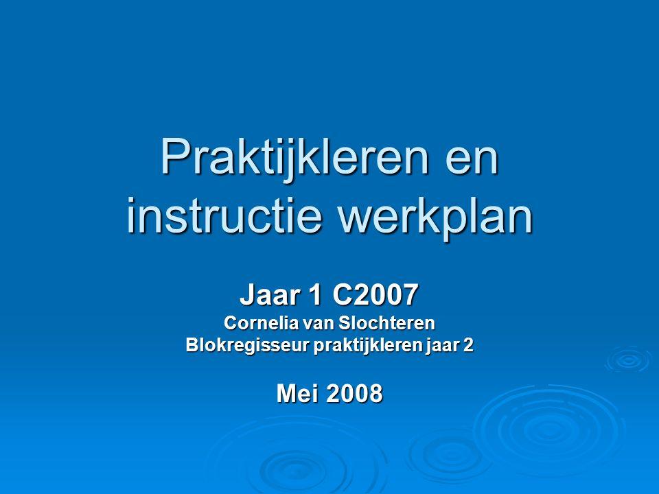 Praktijkleren en instructie werkplan Jaar 1 C2007 Cornelia van Slochteren Blokregisseur praktijkleren jaar 2 Mei 2008