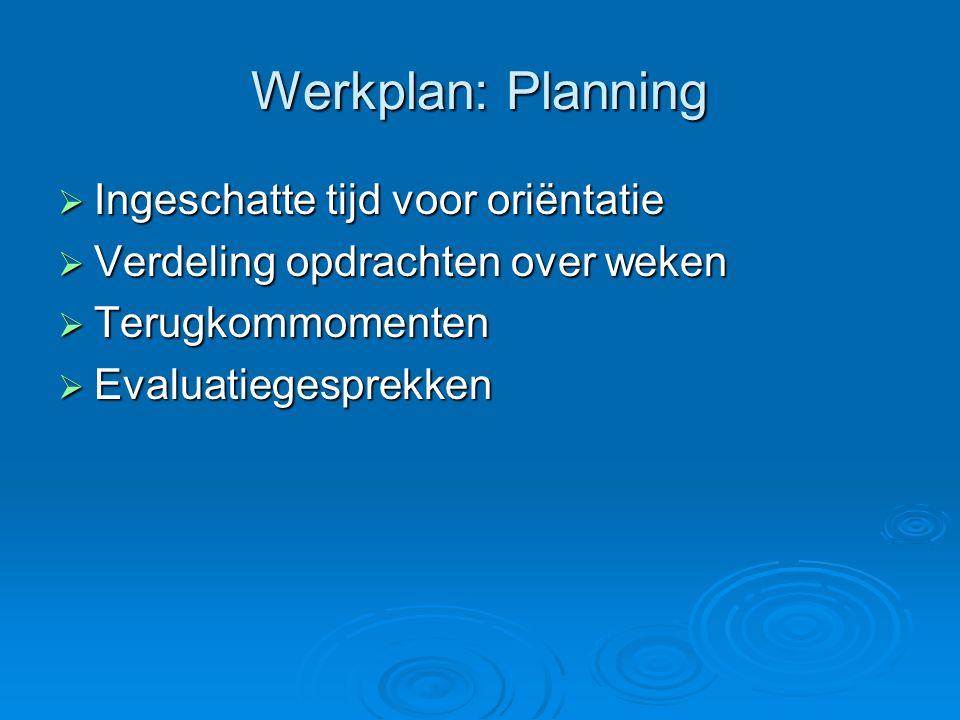 Werkplan: Planning  Ingeschatte tijd voor oriëntatie  Verdeling opdrachten over weken  Terugkommomenten  Evaluatiegesprekken