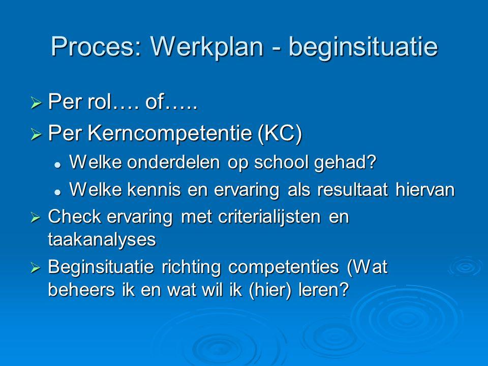 Proces: Werkplan - beginsituatie  Per rol….of…..
