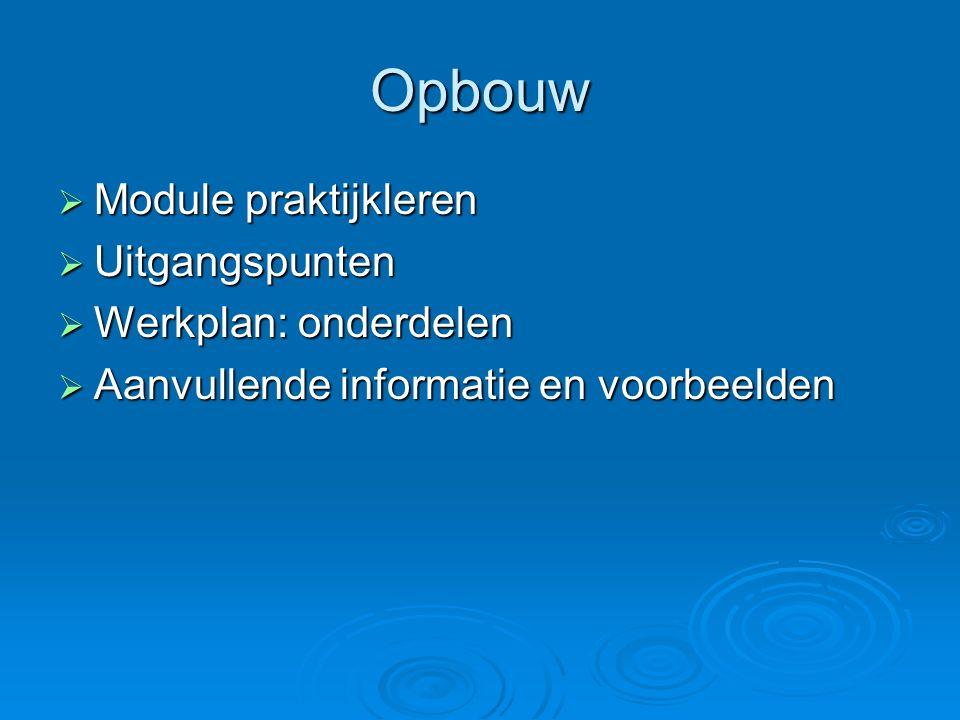 Opbouw  Module praktijkleren  Uitgangspunten  Werkplan: onderdelen  Aanvullende informatie en voorbeelden