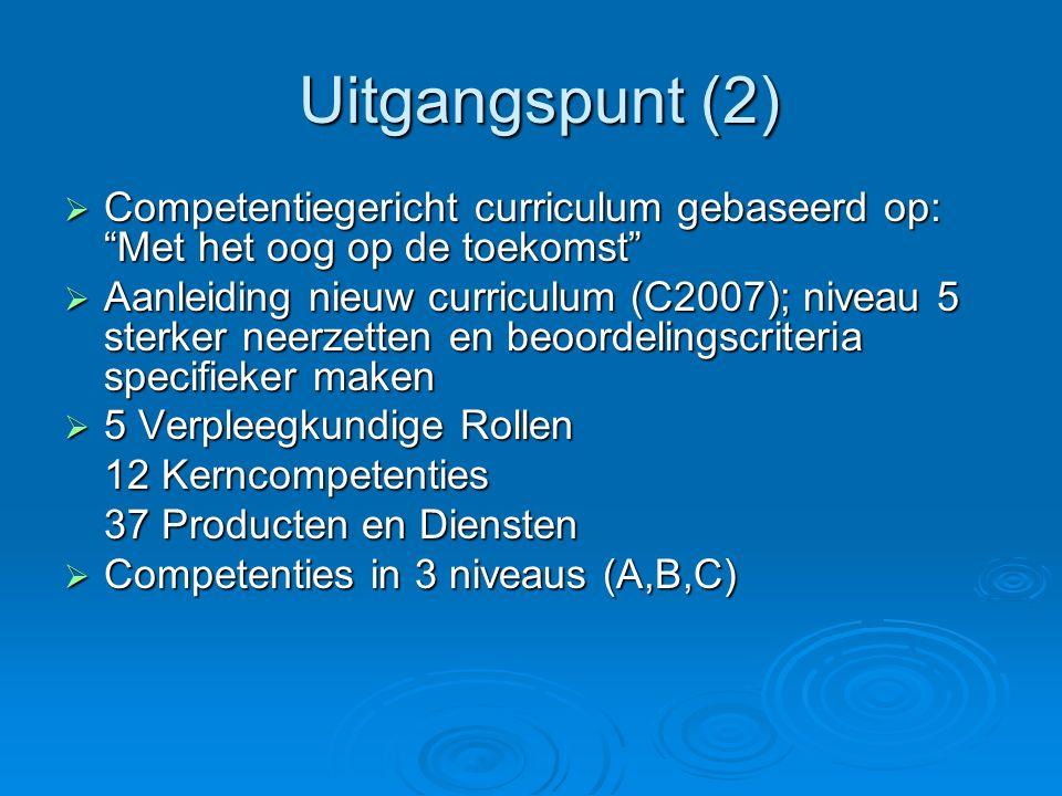 Uitgangspunt (2) Uitgangspunt (2)  Competentiegericht curriculum gebaseerd op: Met het oog op de toekomst  Aanleiding nieuw curriculum (C2007); niveau 5 sterker neerzetten en beoordelingscriteria specifieker maken  5 Verpleegkundige Rollen 12 Kerncompetenties 37 Producten en Diensten  Competenties in 3 niveaus (A,B,C)