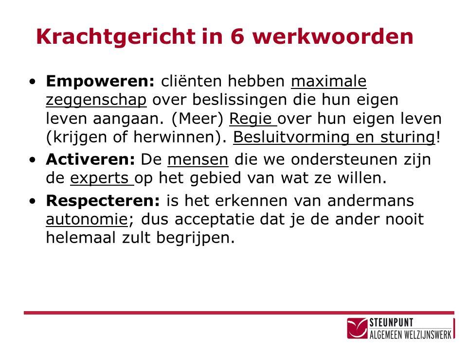 Krachtgericht in 6 werkwoorden Empoweren: cliënten hebben maximale zeggenschap over beslissingen die hun eigen leven aangaan.