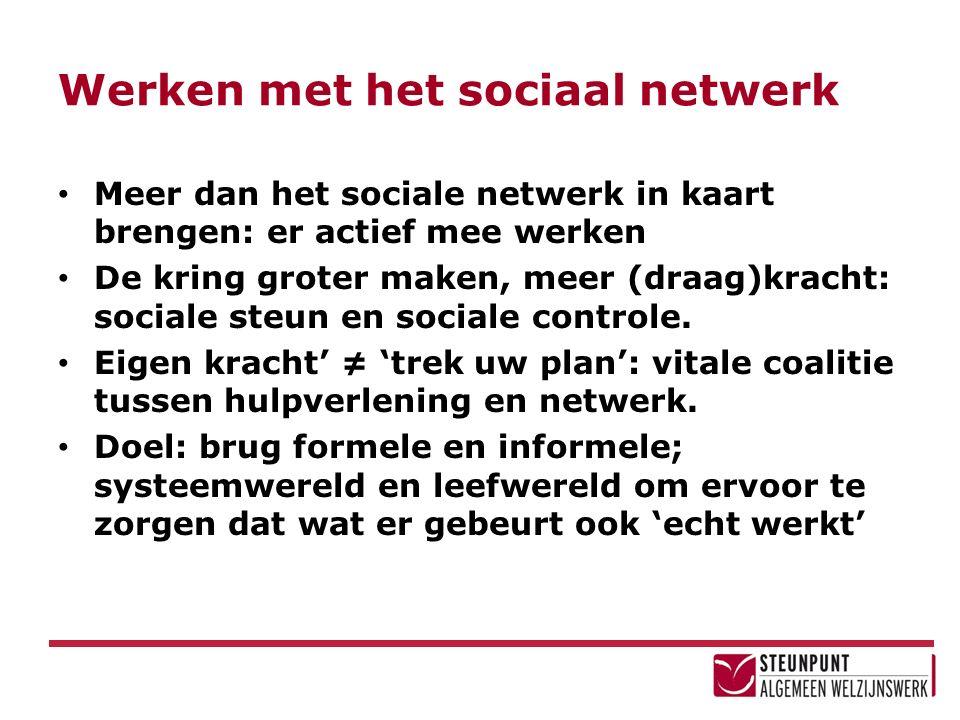 Werken met het sociaal netwerk Meer dan het sociale netwerk in kaart brengen: er actief mee werken De kring groter maken, meer (draag)kracht: sociale steun en sociale controle.
