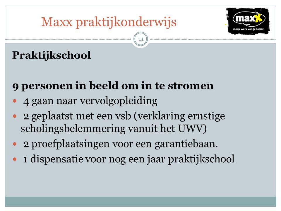 Maxx praktijkonderwijs 11 Praktijkschool 9 personen in beeld om in te stromen 4 gaan naar vervolgopleiding 2 geplaatst met een vsb (verklaring ernstige scholingsbelemmering vanuit het UWV) 2 proefplaatsingen voor een garantiebaan.