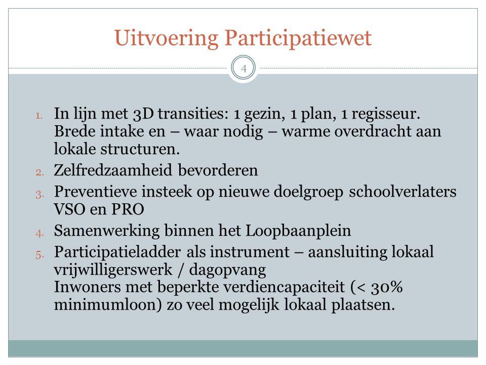 Uitvoering Participatiewet 1. In lijn met 3D transities: 1 gezin, 1 plan, 1 regisseur. Brede intake en – waar nodig – warme overdracht aan lokale stru