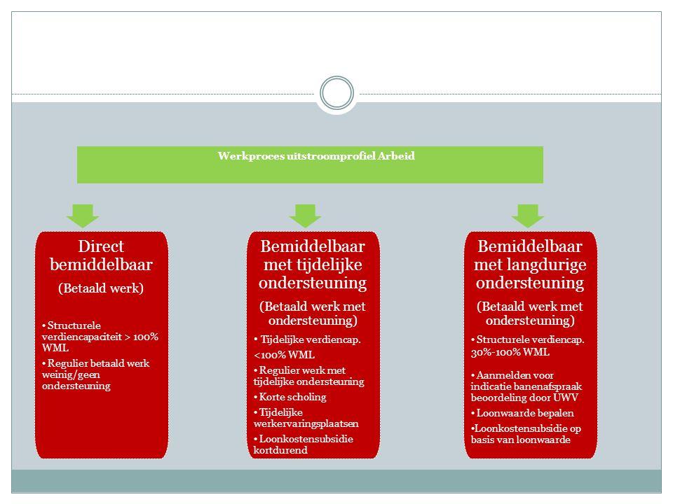 Direct bemiddelbaar (Betaald werk) Structurele verdiencapaciteit > 100% WML Regulier betaald werk weinig/geen ondersteuning Bemiddelbaar met tijdelijke ondersteuning (Betaald werk met ondersteuning) Tijdelijke verdiencap.