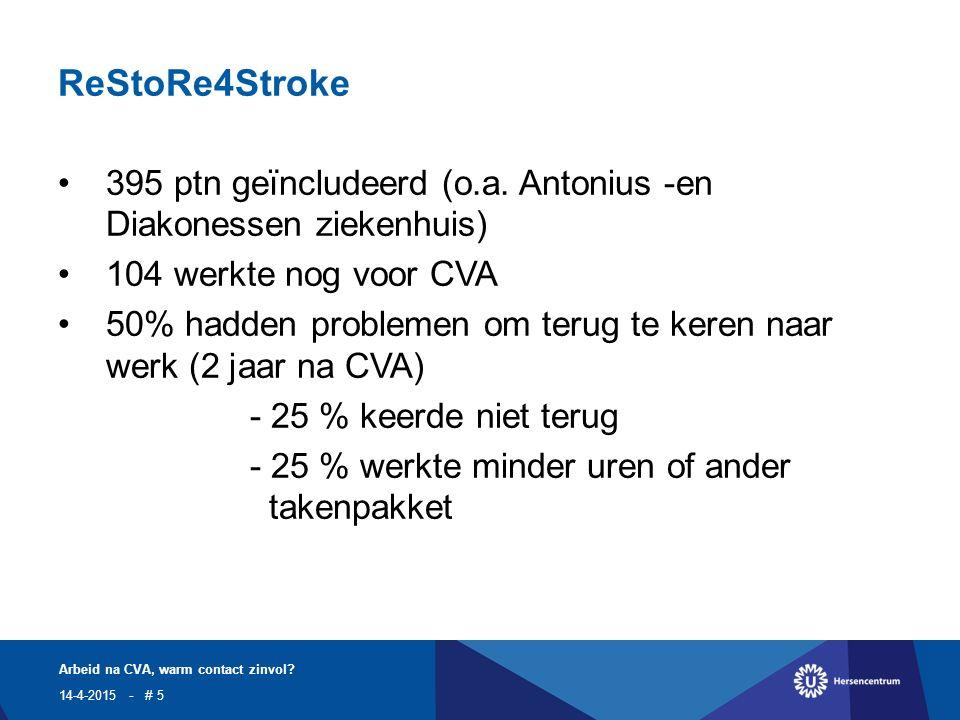 ReStoRe4Stroke 395 ptn geïncludeerd (o.a.