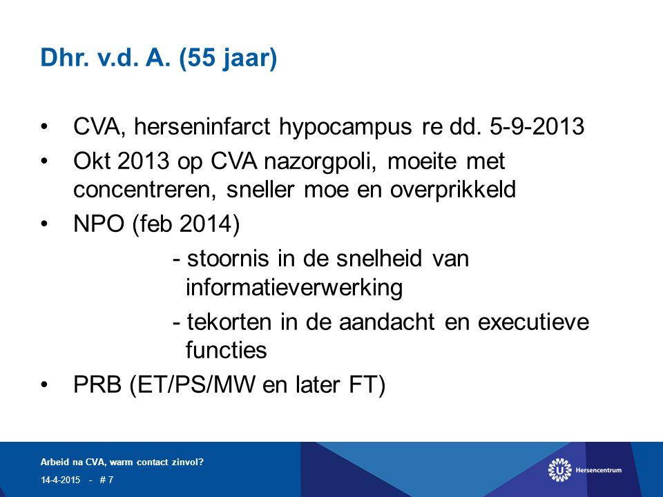 Dhr. v.d. A. (55 jaar) CVA, herseninfarct hypocampus re dd.