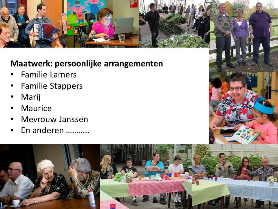 Maatwerk: persoonlijke arrangementen Familie Lamers Familie Stappers Marij Maurice Mevrouw Janssen En anderen ………..