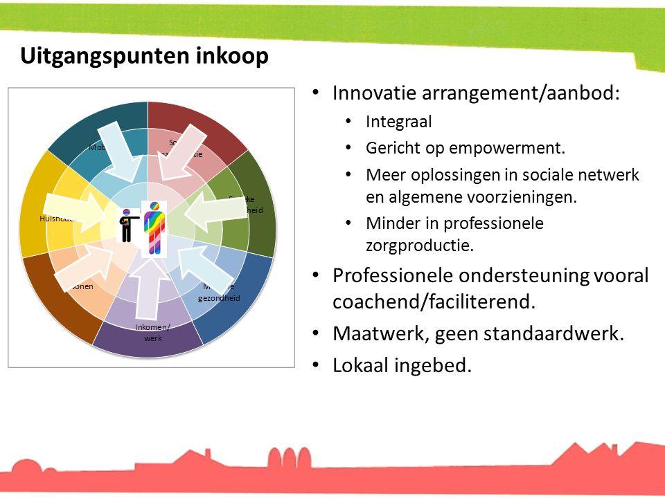 Uitgangspunten inkoop Innovatie arrangement/aanbod: Integraal Gericht op empowerment. Meer oplossingen in sociale netwerk en algemene voorzieningen. M