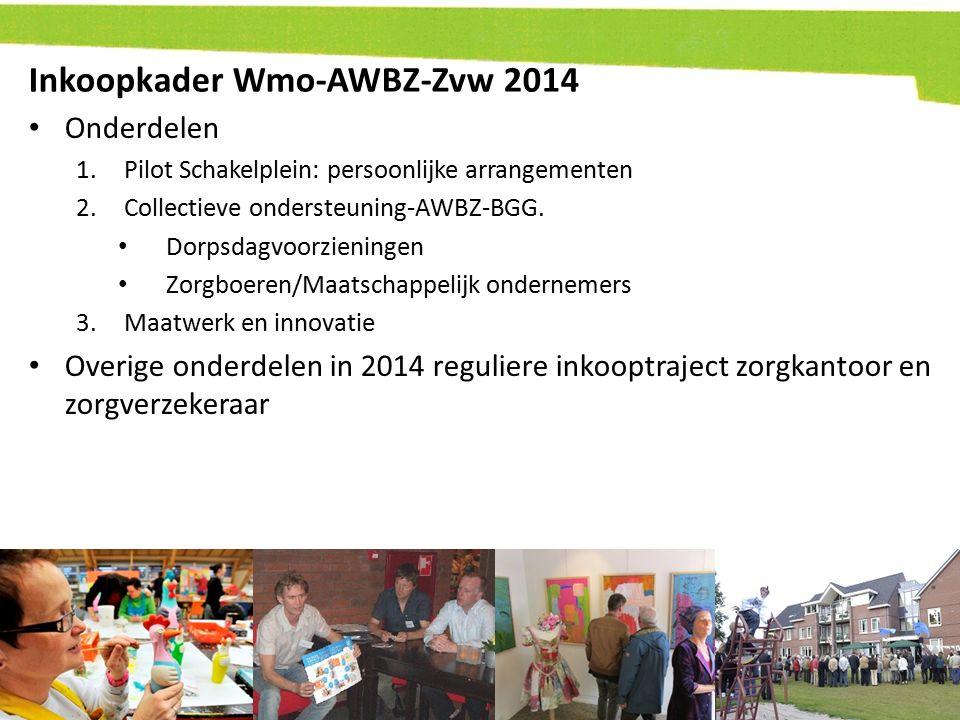 Inkoopkader Wmo-AWBZ-Zvw 2014 Onderdelen 1.Pilot Schakelplein: persoonlijke arrangementen 2.Collectieve ondersteuning-AWBZ-BGG. Dorpsdagvoorzieningen