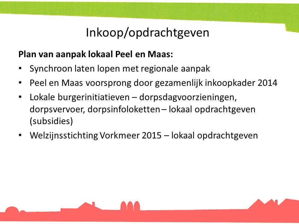 Inkoop/opdrachtgeven Plan van aanpak lokaal Peel en Maas: Synchroon laten lopen met regionale aanpak Peel en Maas voorsprong door gezamenlijk inkoopka
