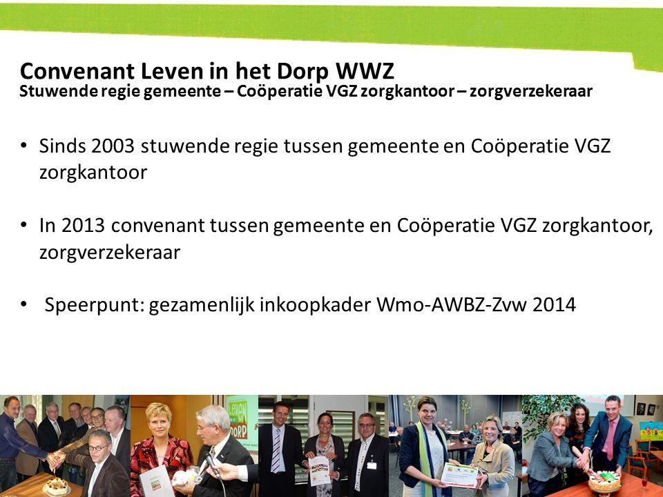 Convenant Leven in het Dorp WWZ Sinds 2003 stuwende regie tussen gemeente en Coöperatie VGZ zorgkantoor In 2013 convenant tussen gemeente en Coöperati
