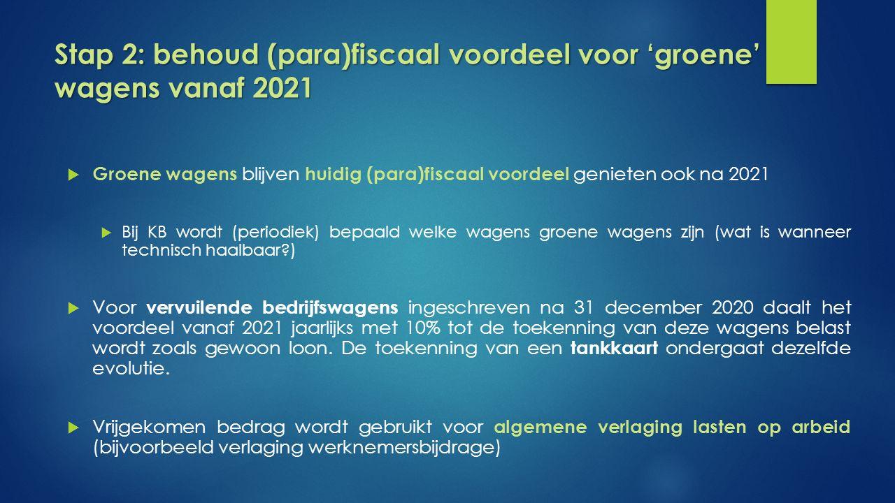 Stap 2: behoud (para)fiscaal voordeel voor 'groene' wagens vanaf 2021  Groene wagens blijven huidig (para)fiscaal voordeel genieten ook na 2021  Bij KB wordt (periodiek) bepaald welke wagens groene wagens zijn (wat is wanneer technisch haalbaar )  Voor vervuilende bedrijfswagens ingeschreven na 31 december 2020 daalt het voordeel vanaf 2021 jaarlijks met 10% tot de toekenning van deze wagens belast wordt zoals gewoon loon.