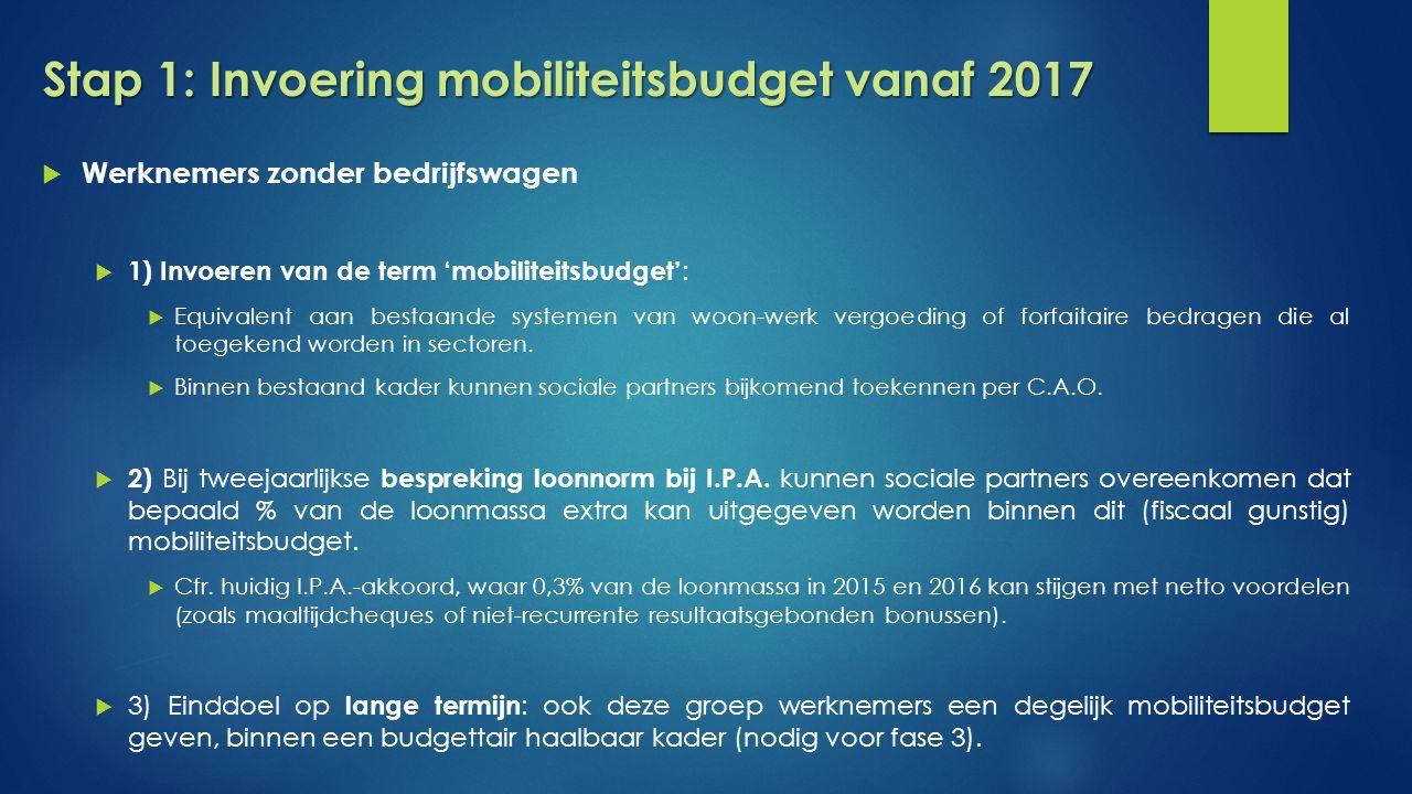 Stap 1: Invoering mobiliteitsbudget vanaf 2017  Werknemers zonder bedrijfswagen  1) Invoeren van de term 'mobiliteitsbudget' :  Equivalent aan bestaande systemen van woon-werk vergoeding of forfaitaire bedragen die al toegekend worden in sectoren.