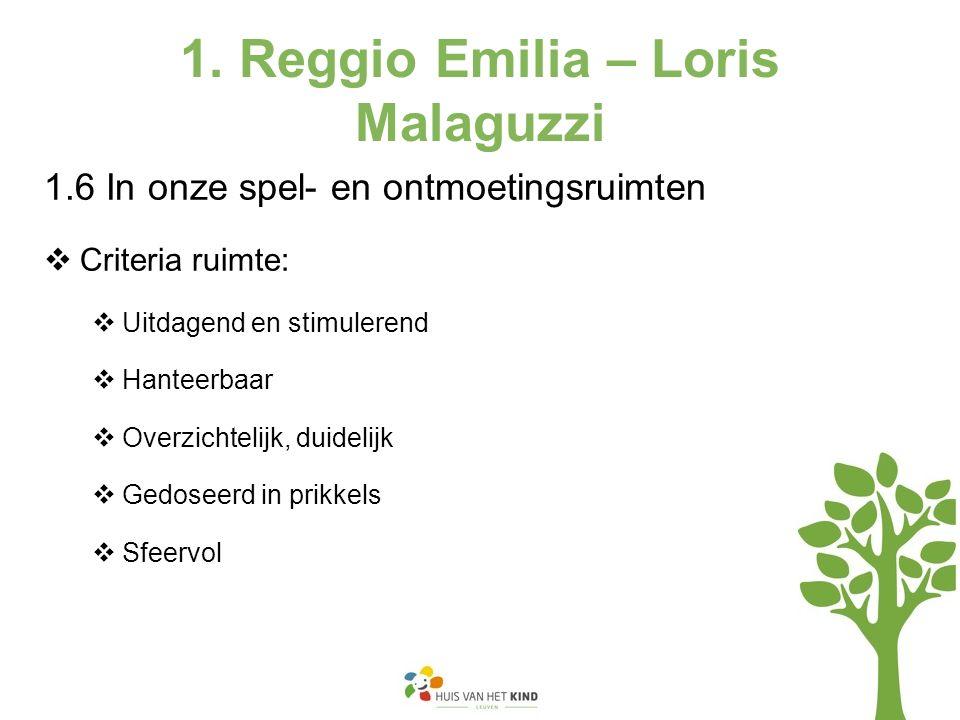 1. Reggio Emilia – Loris Malaguzzi 1.6 In onze spel- en ontmoetingsruimten  Criteria ruimte:  Uitdagend en stimulerend  Hanteerbaar  Overzichtelij