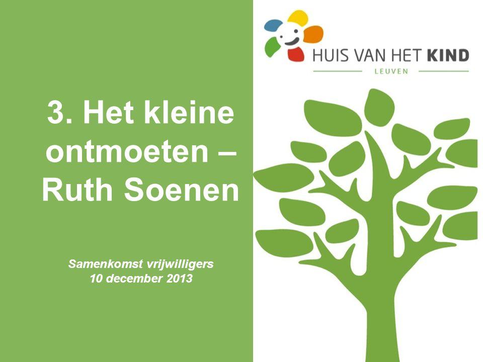3. Het kleine ontmoeten – Ruth Soenen Samenkomst vrijwilligers 10 december 2013
