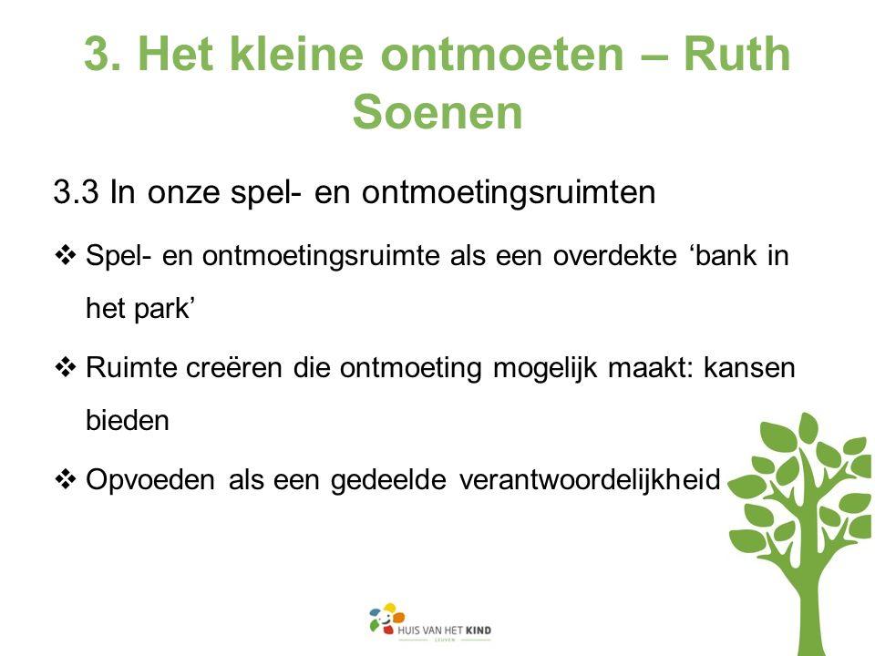 3. Het kleine ontmoeten – Ruth Soenen 3.3 In onze spel- en ontmoetingsruimten  Spel- en ontmoetingsruimte als een overdekte 'bank in het park'  Ruim