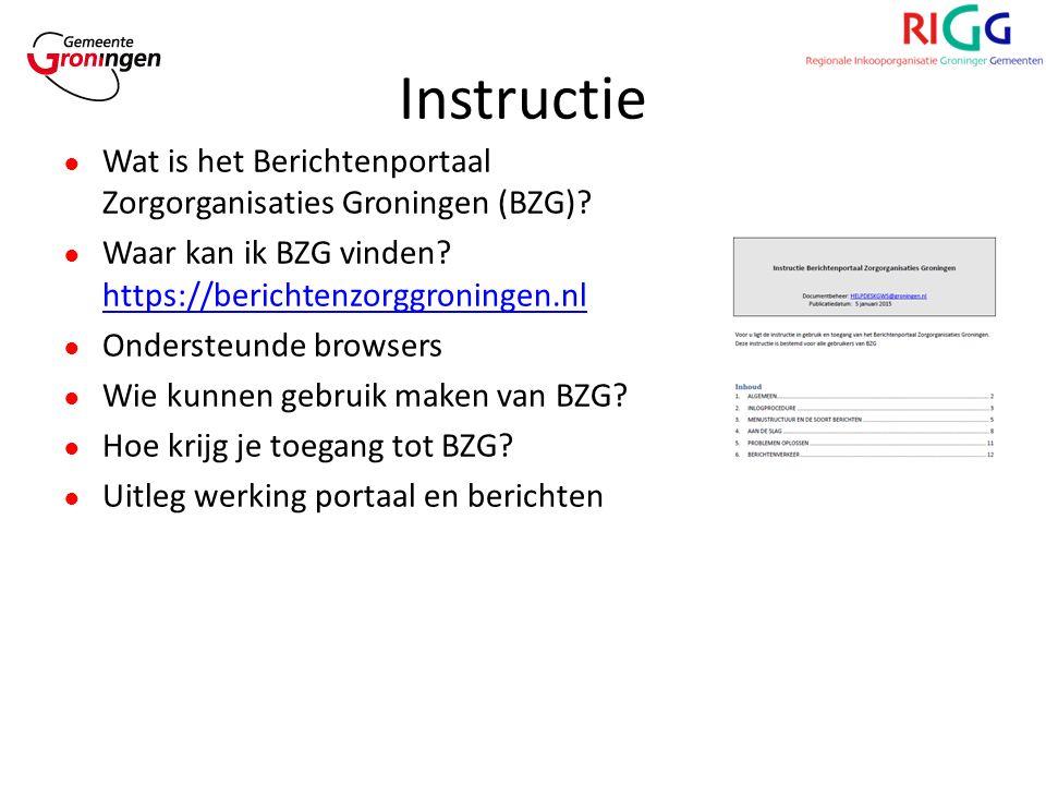 Instructie ● Wat is het Berichtenportaal Zorgorganisaties Groningen (BZG).