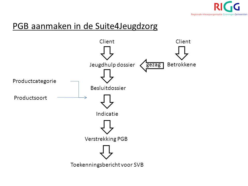 Client Jeugdhulp dossier Betrokkene Besluitdossier Productcategorie Productsoort PGB aanmaken in de Suite4Jeugdzorg Indicatie Verstrekking PGB Toekenningsbericht voor SVB gezag