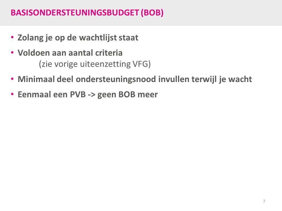 BASISONDERSTEUNINGSBUDGET (BOB) Zolang je op de wachtlijst staat Voldoen aan aantal criteria (zie vorige uiteenzetting VFG) Minimaal deel ondersteuningsnood invullen terwijl je wacht Eenmaal een PVB -> geen BOB meer 7