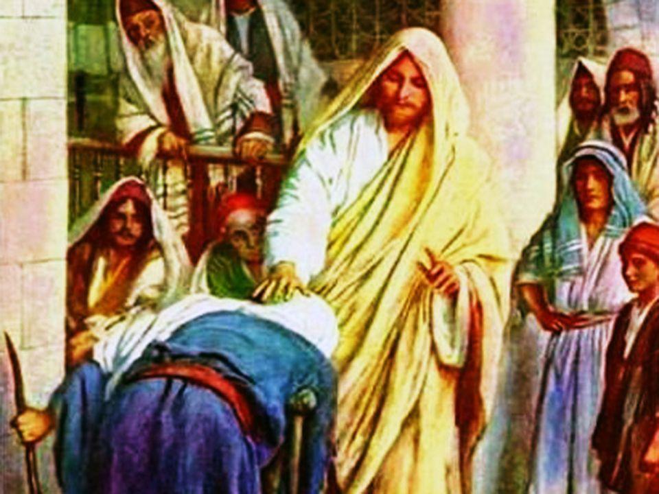 Jezus verbreekt het werk van de satan 1.Wat er aan de hand is:door satan geboeid 2.Wat Jezus er aan doet:door Jezus bevrijd 3.Wanneer Jezus dat doet:op sabbat