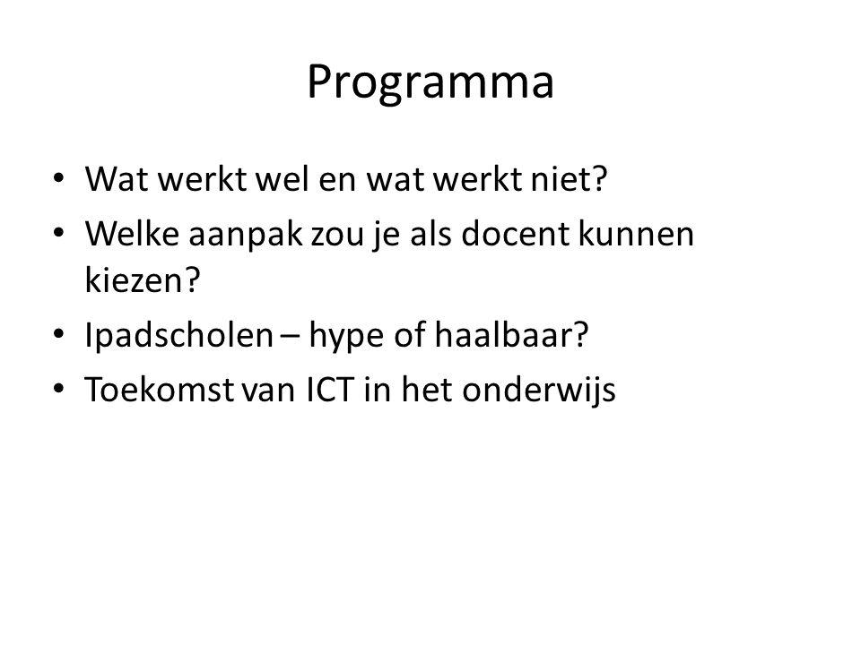 Programma Wat werkt wel en wat werkt niet. Welke aanpak zou je als docent kunnen kiezen.