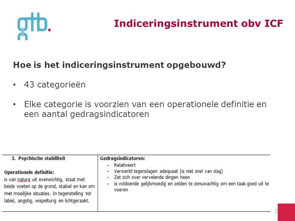 Indiceringsinstrument obv ICF Hoe is het indiceringsinstrument opgebouwd? 43 categorieën Elke categorie is voorzien van een operationele definitie en