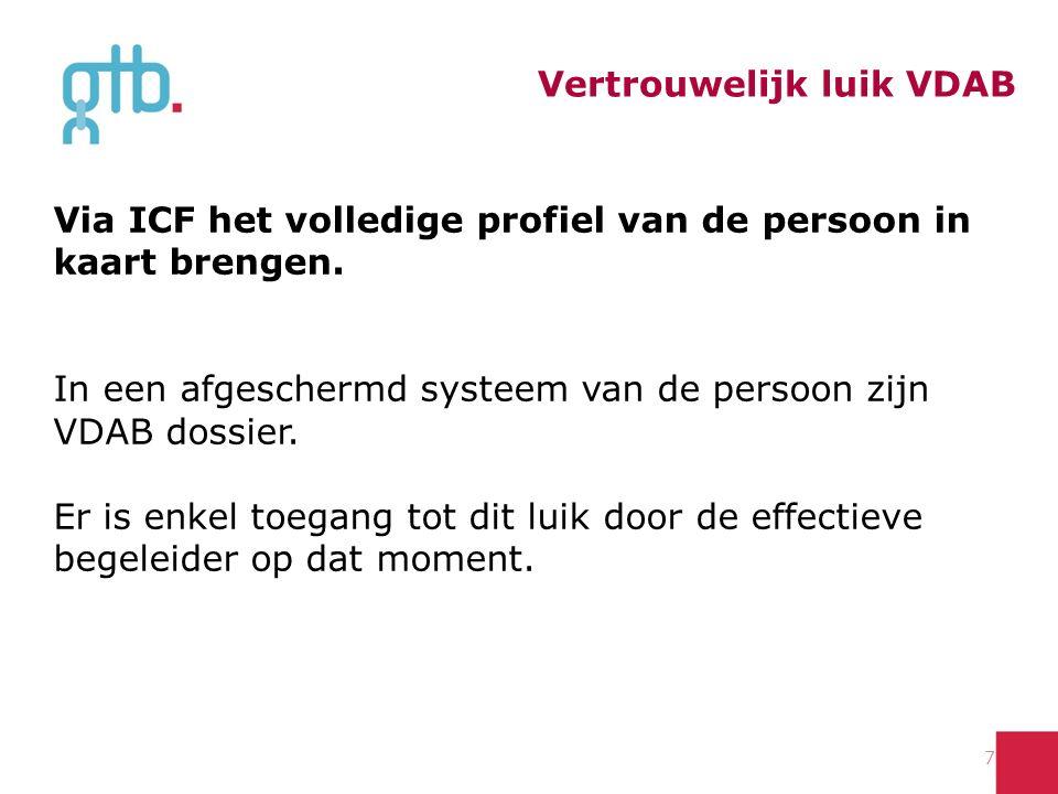 Vertrouwelijk luik VDAB 7 Via ICF het volledige profiel van de persoon in kaart brengen.