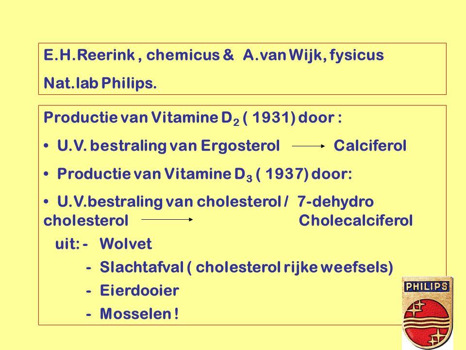 E.H.Reerink, chemicus & A.van Wijk, fysicus Nat.lab Philips. Productie van Vitamine D 2 ( 1931) door : U.V. bestraling van Ergosterol Calciferol Produ