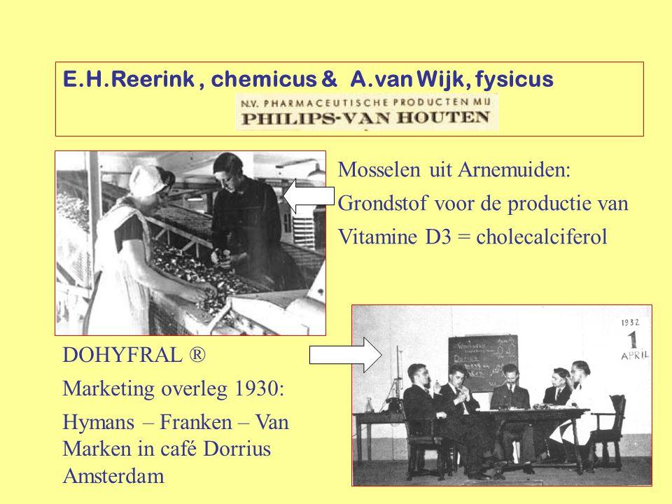 E.H.Reerink, chemicus & A.van Wijk, fysicus Mosselen uit Arnemuiden: Grondstof voor de productie van Vitamine D3 = cholecalciferol DOHYFRAL ® Marketin