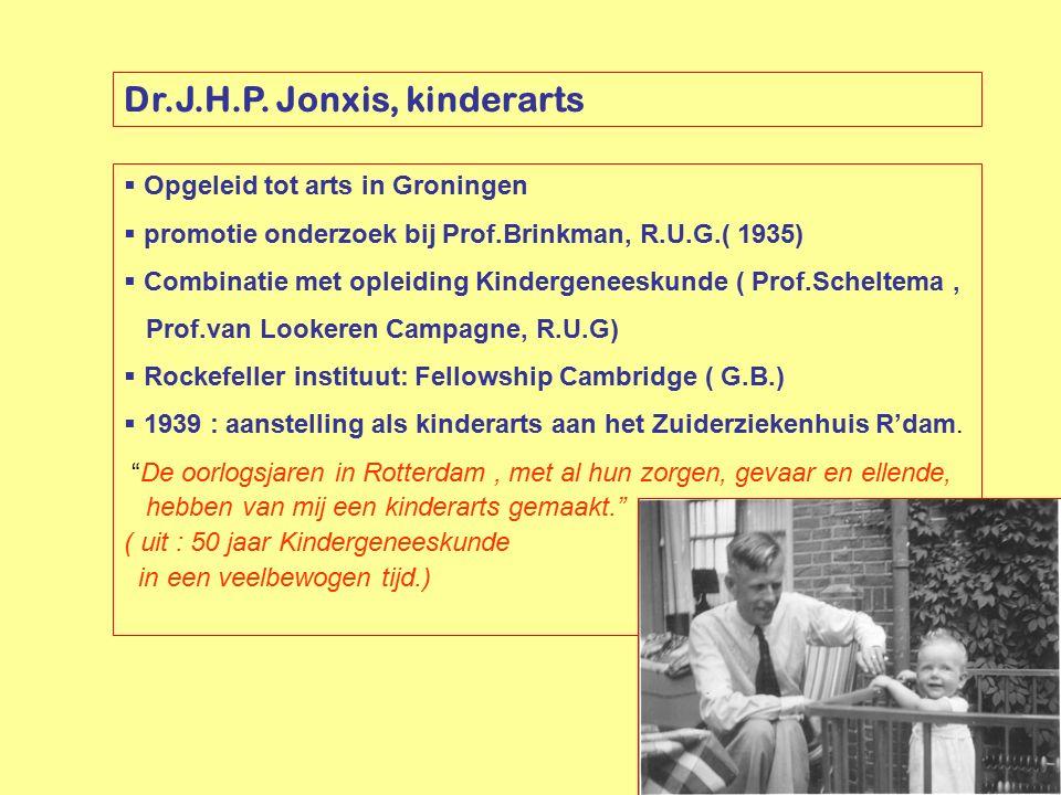 Dr.J.H.P. Jonxis, kinderarts  Opgeleid tot arts in Groningen  promotie onderzoek bij Prof.Brinkman, R.U.G.( 1935)  Combinatie met opleiding Kinderg