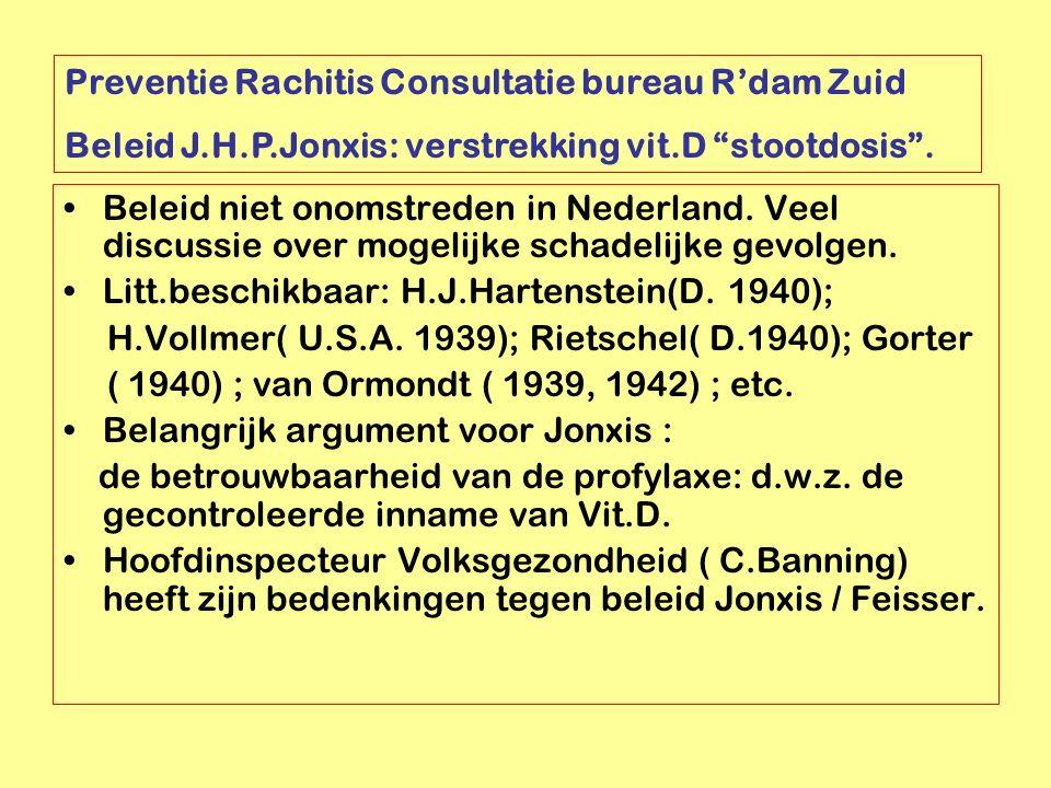 Beleid niet onomstreden in Nederland. Veel discussie over mogelijke schadelijke gevolgen. Litt.beschikbaar: H.J.Hartenstein(D. 1940); H.Vollmer( U.S.A