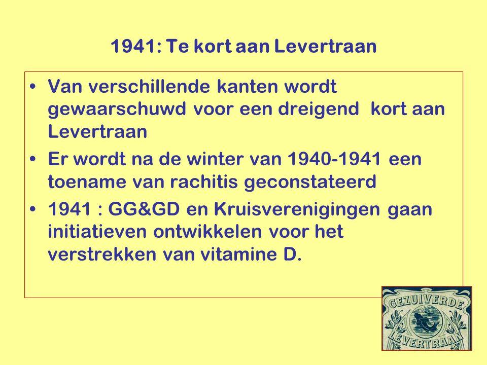 Van verschillende kanten wordt gewaarschuwd voor een dreigend kort aan Levertraan Er wordt na de winter van 1940-1941 een toename van rachitis geconst