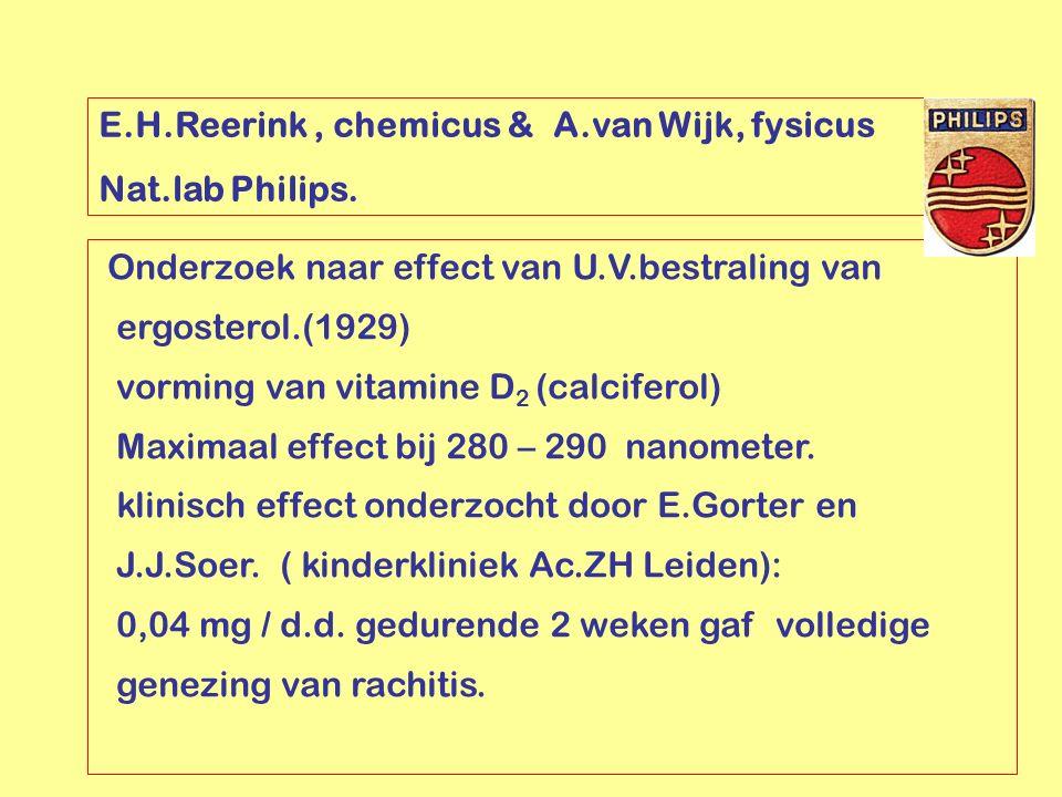 E.H.Reerink, chemicus & A.van Wijk, fysicus Nat.lab Philips. Onderzoek naar effect van U.V.bestraling van ergosterol.(1929) vorming van vitamine D 2 (