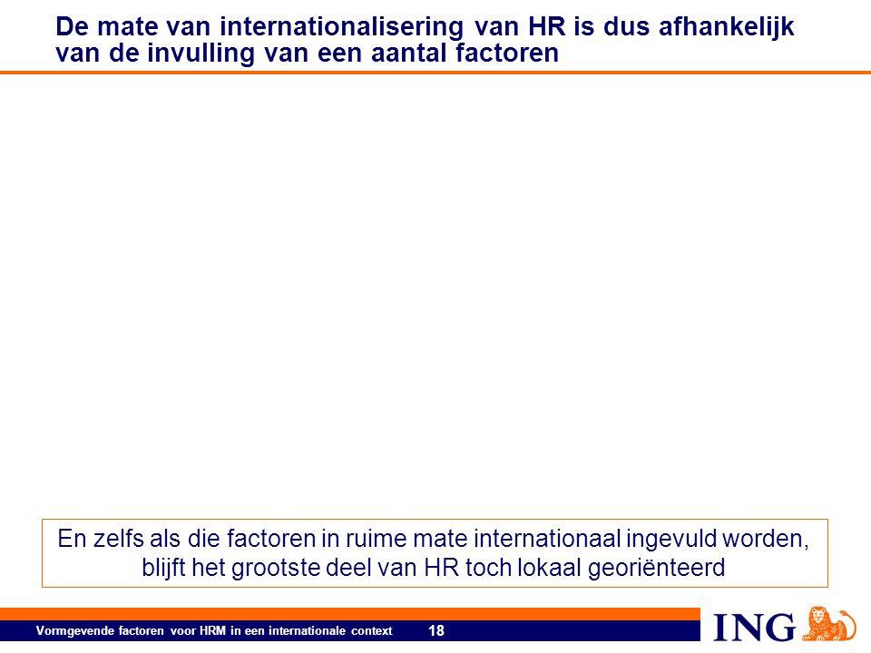 18 Vormgevende factoren voor HRM in een internationale context De mate van internationalisering van HR is dus afhankelijk van de invulling van een aantal factoren En zelfs als die factoren in ruime mate internationaal ingevuld worden, blijft het grootste deel van HR toch lokaal georiënteerd
