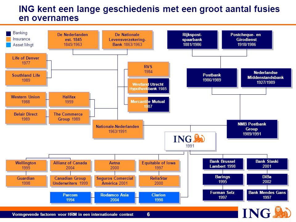 6 Vormgevende factoren voor HRM in een internationale context ING kent een lange geschiedenis met een groot aantal fusies en overnames De Nederlanden est.