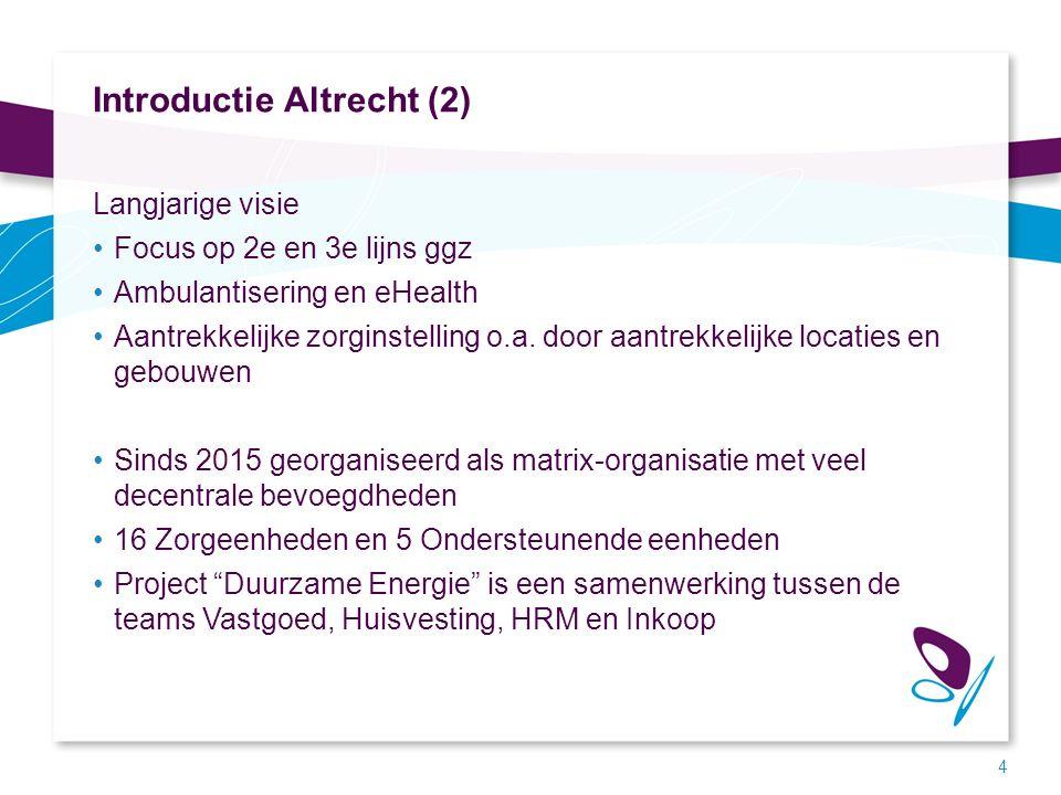Introductie Altrecht (2) Langjarige visie Focus op 2e en 3e lijns ggz Ambulantisering en eHealth Aantrekkelijke zorginstelling o.a. door aantrekkelijk