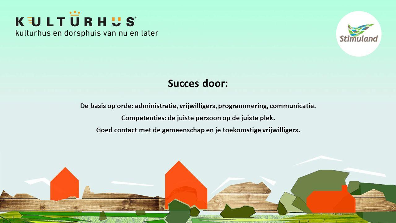 Succes door: De basis op orde: administratie, vrijwilligers, programmering, communicatie.
